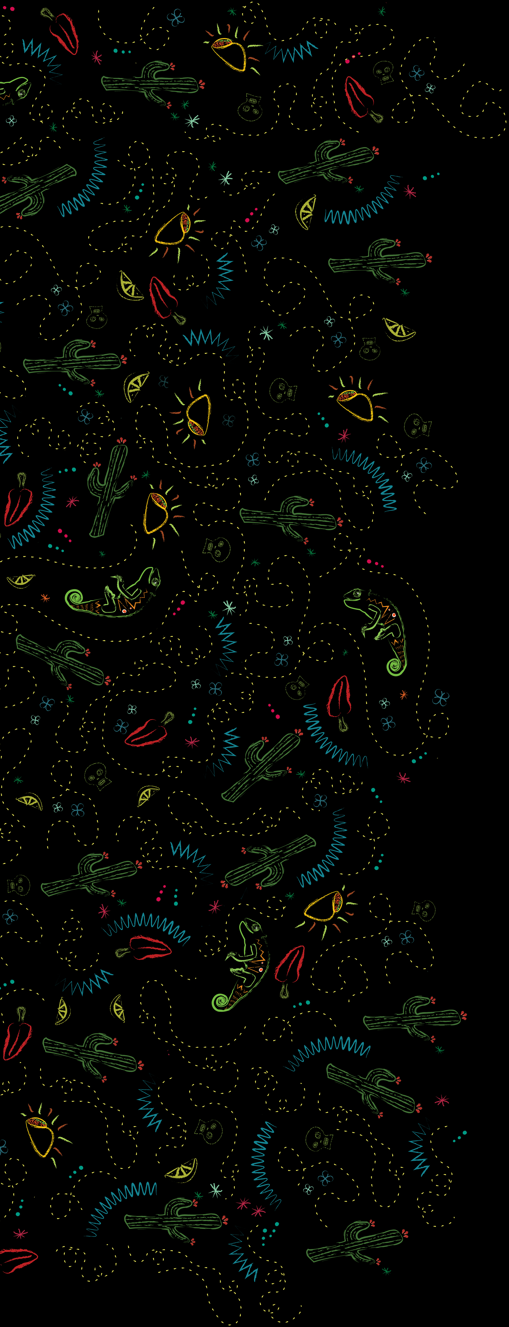Background Illustration full of tacos, peppers, limes, cacti, and iguanas